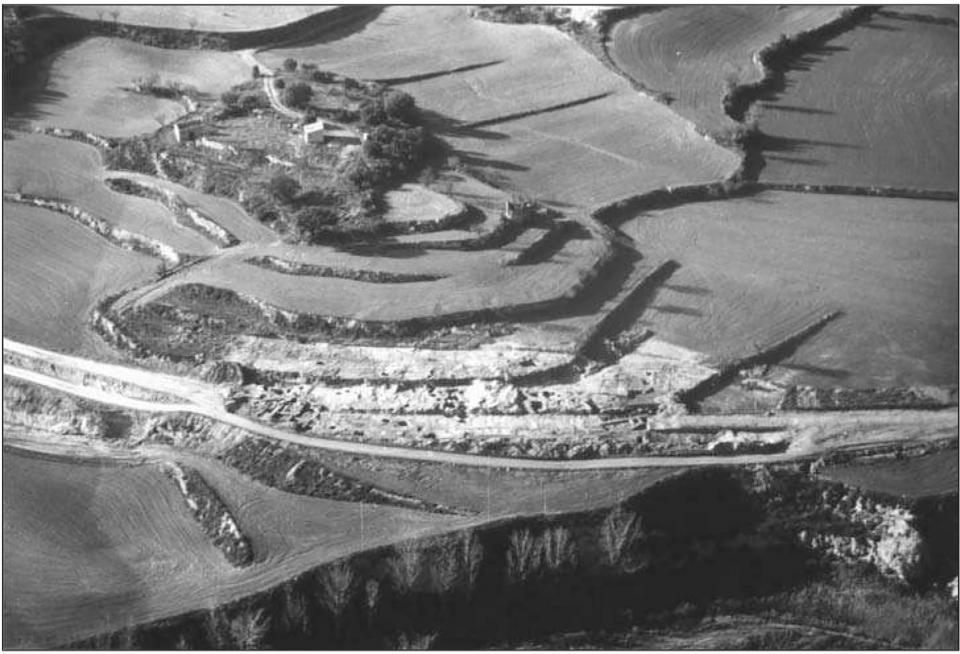 La vil·la romana de Sant Pelegrí, vista aèria del jaciment - Biosca