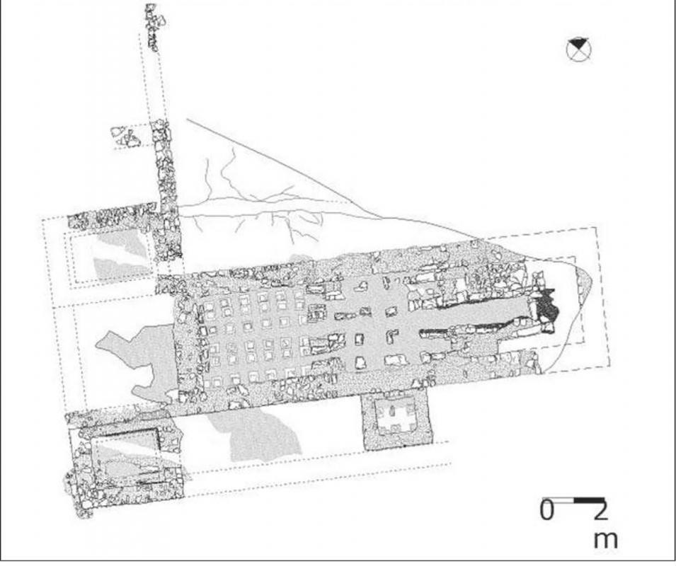 La vil·la romana de Sant Pelegrí, planta de les termes baiximperials - Biosca