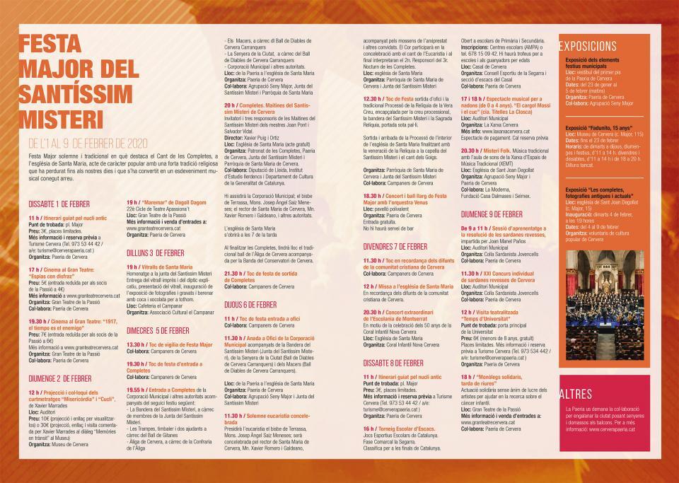 cartell Festa Major del Santíssim Misteri 2020 - Cervera
