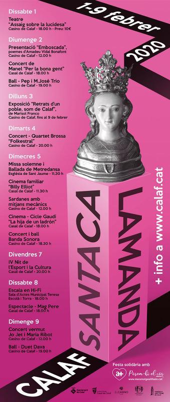 cartell Festa Major de Santa Calamanda 2020