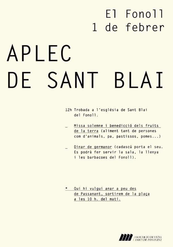 cartell Aplec de Sant Blai