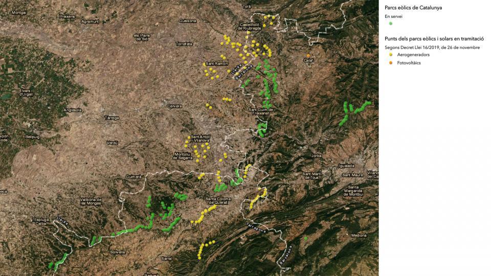 Mapa dels nous projectes de parcs eòlics i dels existents a l'altiplà segarrenc -