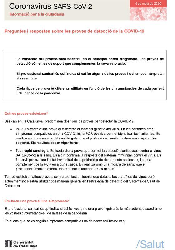 FAQS sobre sobre les proves de detecció de la COVID-19