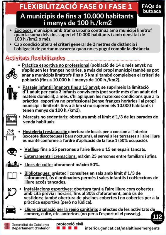 Ja no hi ha franges horàries en els municipis en fase 1 de menys de 10.000 habitants Foto: protecció civil -