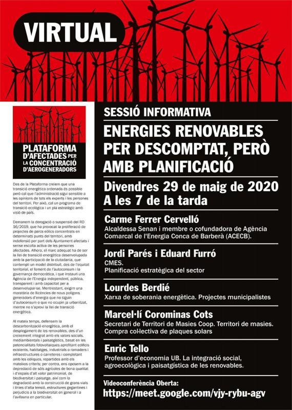 Sessió informativa virtual 'Energies renovables per descomptat, però amb planificació'