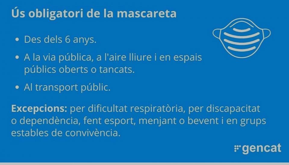 Obligatori l'ús de mascaretes a Catalunya