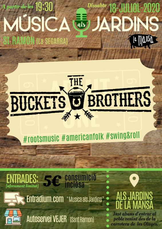 cartell Música als Jardins 'The Buckets Brothers'