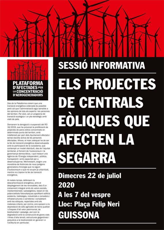 cartell Sessió informativa 'Els projectes de centrals eòliques que afecten la Segarra'