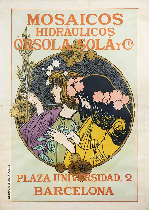 Cartell «Mosaicos Hidráulicos Órsola Solá y Cia.», 1898. - Calaf
