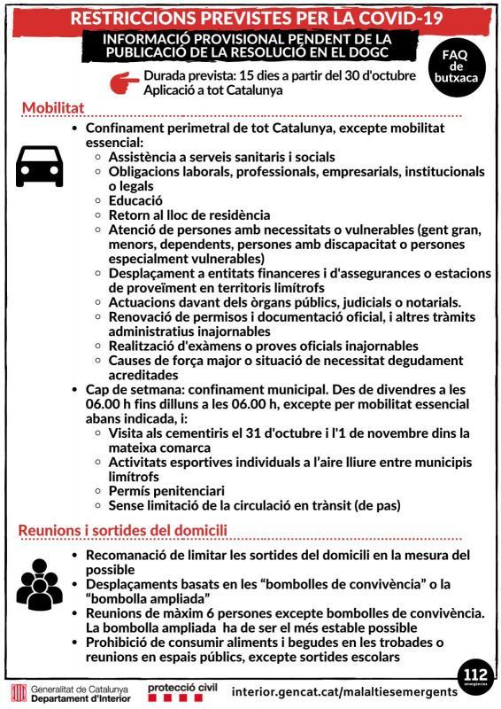 El Govern imposa noves restriccions per frenar el coronavirus -