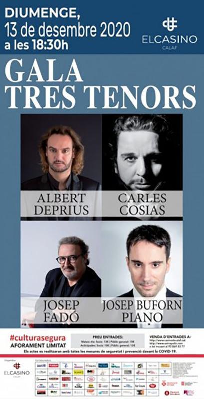 cartell Concert de gala 'Tres tenors'