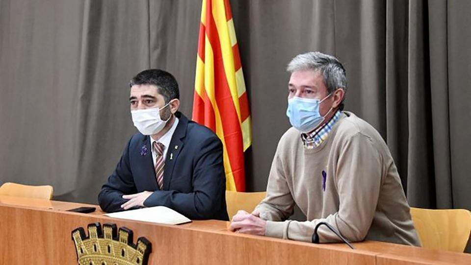 El conseller de Polítiques Digitals i Administració Pública, Jordi Puigneró, amb l'alcalde de Guissona, Jaume Ars