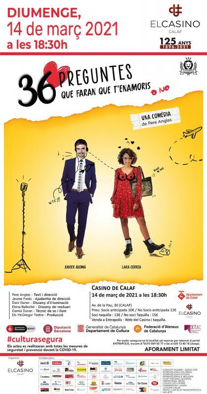 cartell Teatre '36 preguntes que faran que t'enamoris'