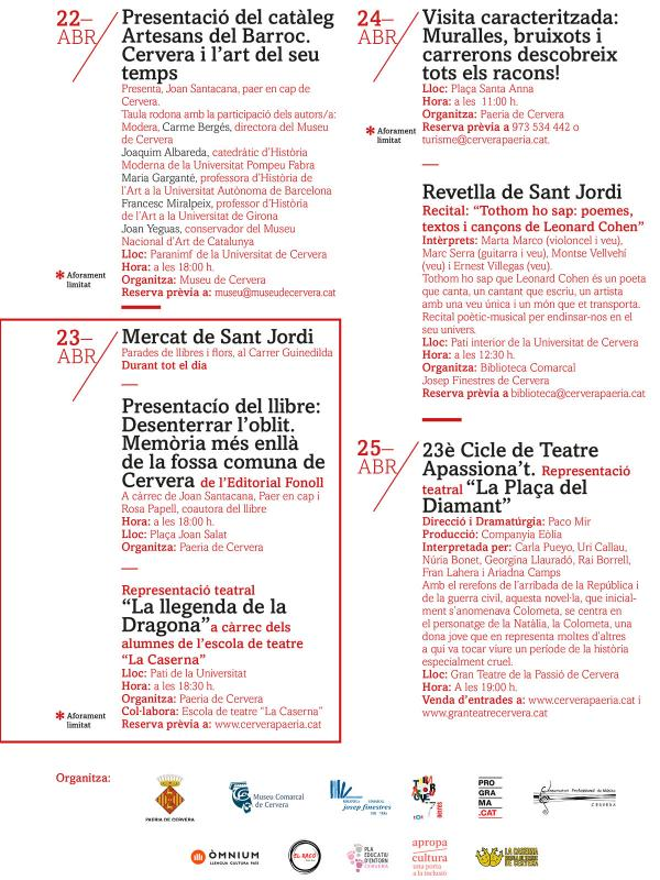 cartell Setmana cultural Sant Jordi 2021 - Cervera
