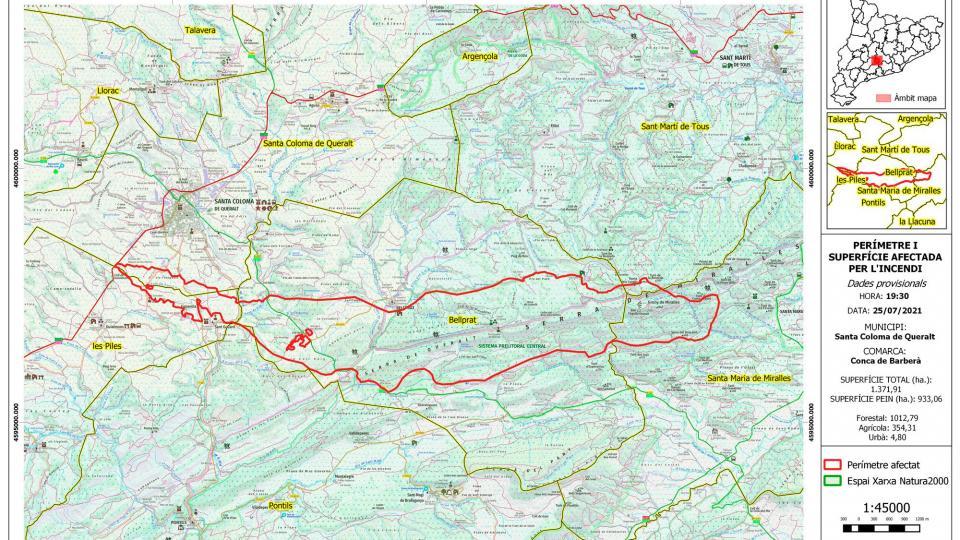 Perímetre afectat per l'incendi forestal de la Baixa Segarra - Santa Coloma de Queralt
