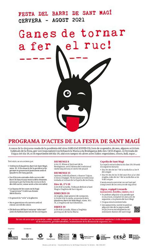 cartell Festa de Sant Magí Cervera 2021