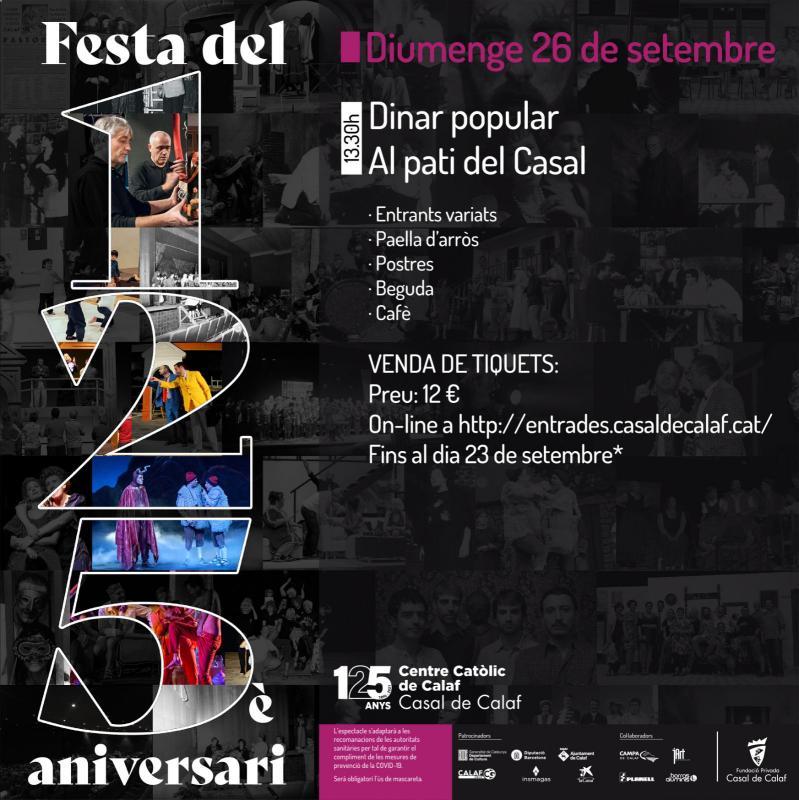 cartell Festa del 125è Aniversari del Casal de Calaf - Calaf