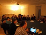 Verdú: un instant de la reunió, a la seu de la Fundació Tekhnikós  Jaume Moya