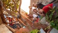 Segura: Els jovenets de Segura a l'escala de l'entrada de la Casa Gran  Kiku Mistu