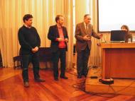 Guissona: Josep Guitart, Josep Ros i l'alcalde de Guissona Xavier Casoliva a l'entrega del premi Musa-Àuriga concedit al Museu de Guissona Eduard Camps  Ajuntament de Guissona