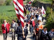 Alta-riba: Arribant a Santa Fe el dia del trasllat solemne de la relíquia de Sant Jordi d'Alta-riba  AACSMA