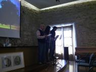 Santa Coloma de Queralt: Presentació literària(Jaume Carbonell, del CMC, Jaume Moya, de la Fundació Cases i Llebot, i Maria Garganté, del Fòrum l'Espitllera)  Ramon Sunyer