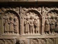 Santa Coloma de Queralt: Detall de la tomba del comte  Ramon Sunyer