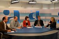 Barcelona: Debat sobre la Segarra a l'ARA TV. Ramon Royes, alcalde de Cervera, Antoni Borràs, responsable de regadius de la Unió de Pagesos, Cristina Peris, tècnica del Pla comarcal Inclusió i cohesió social a la Segarra i Albert Turull, president del Fòrum l'Espitllera  ARA TV