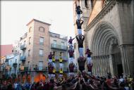 Agramunt: Actuació de les colles castelleres, Solsona, Lleida i Margeners de Guissona  Margeners
