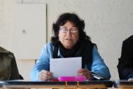 Els Prats de Rei: Montse Rumbau, ACBS, llegint el manifest  Ramon Sunyer