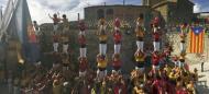 Bellprat: les castelleres formant una senyera amb els seus pilars  Xicots de Vilafranca