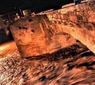 Sanaüja: La riera gairebé omple el pont  Ramon Castany