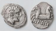 Moneda ibèrica de finals del segle III aC amb la inscripció Sikarra