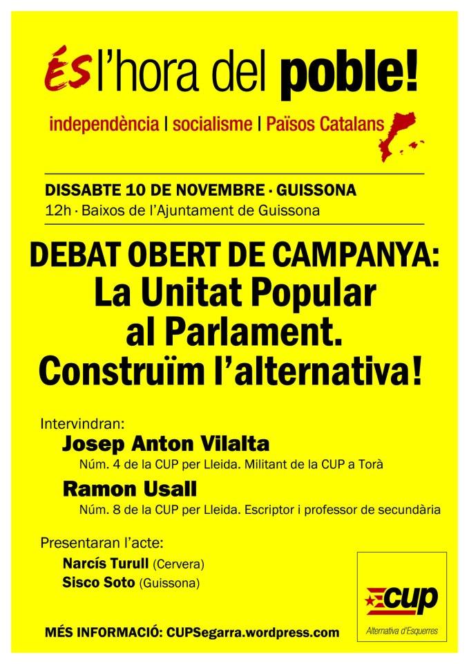cartell Debat La Unitat Popular al Parlament
