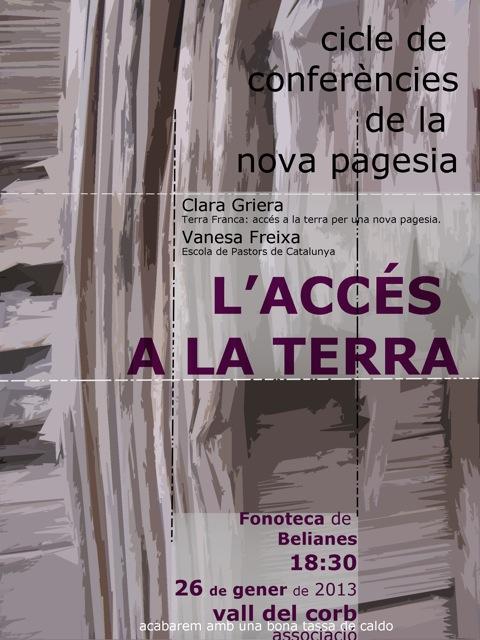 cartell conferència 'L'ACCÉS A LA TERRA'