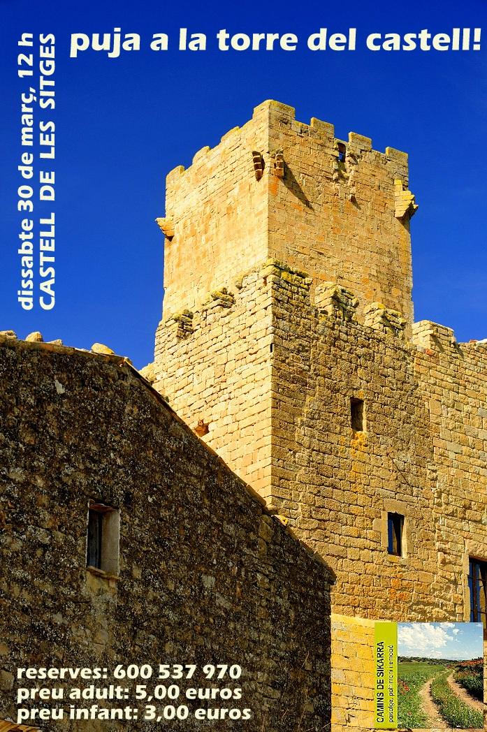 cartell puja a la torre del Castell de les Sitges