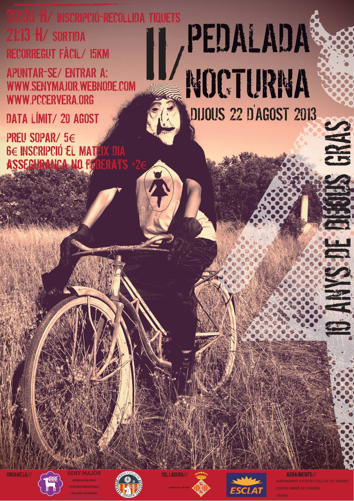 cartell 2a Pedalada Nocturna i Popular al Tossal de les Bruixes