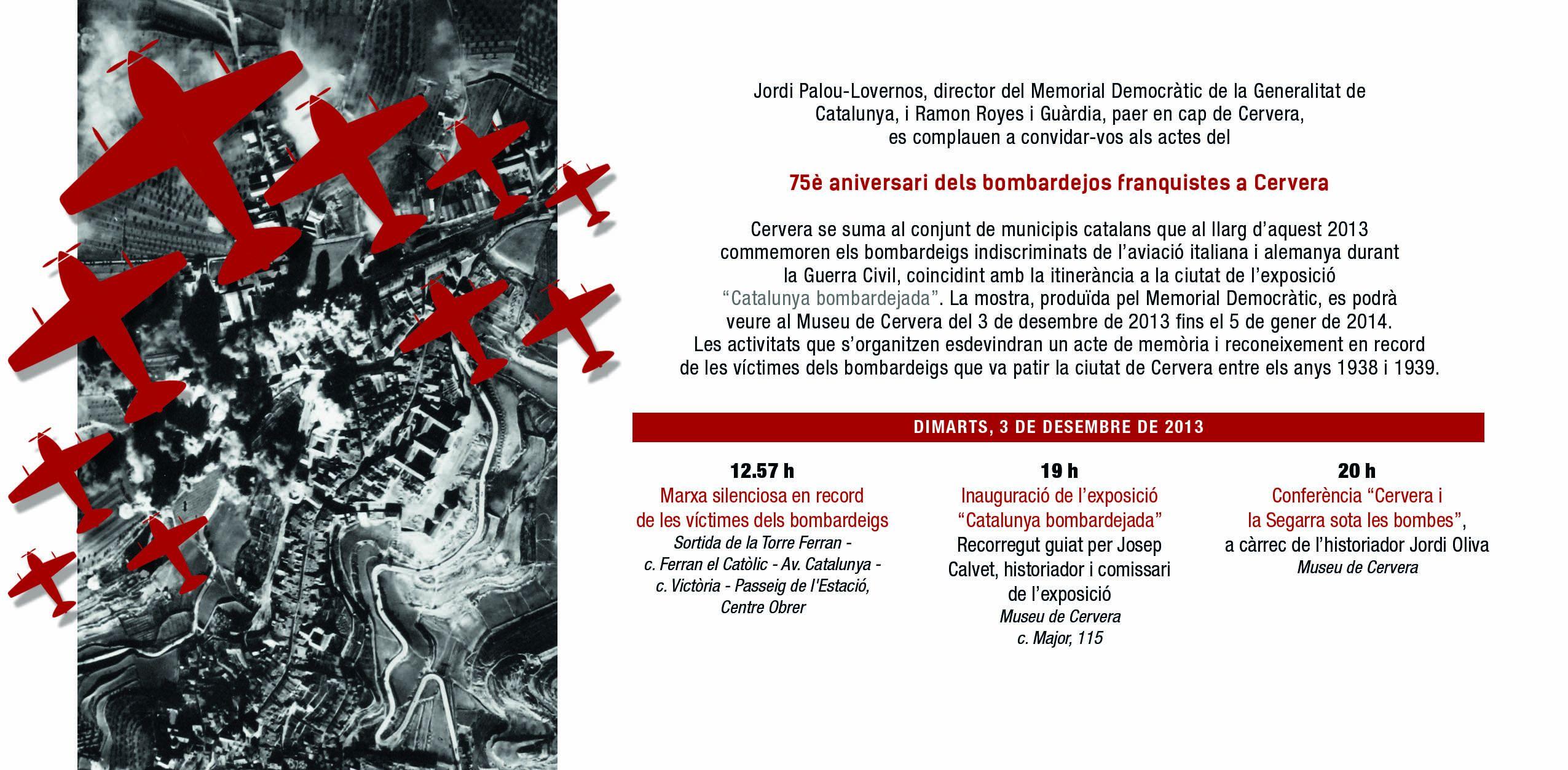 cartell Commemoració 75è aniversari bombardeig feixista de Cervera