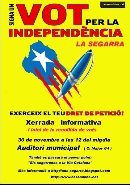 cartell presentació campanya SIGNA UN VOT PER LA INDEPENDÈNCIA