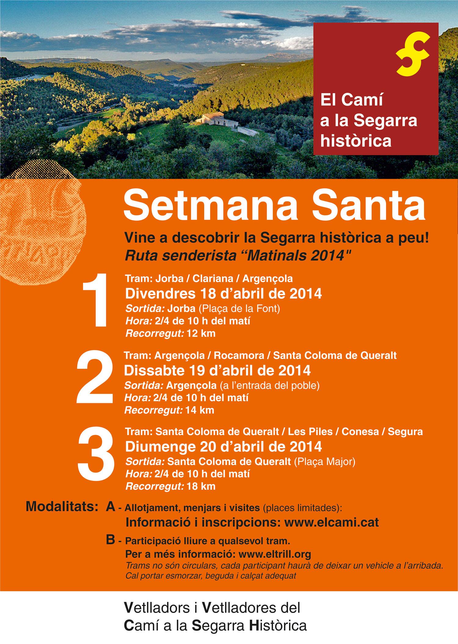 cartell Vine a descobrir la Segarra històrica a peu!
