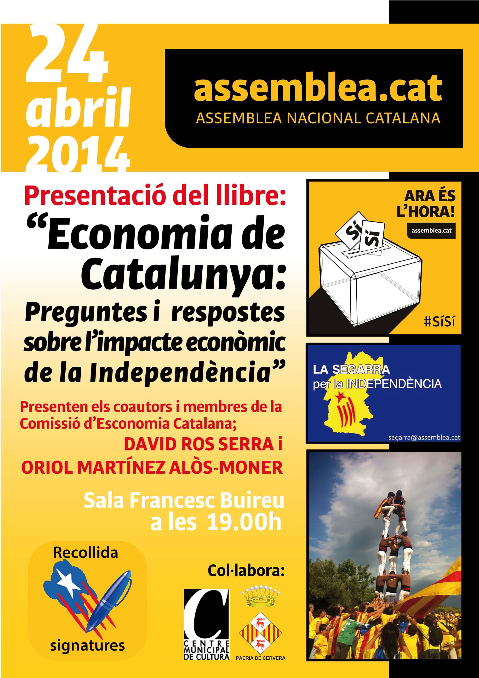 cartell presentació del llibre 'Economia de Catalunya'