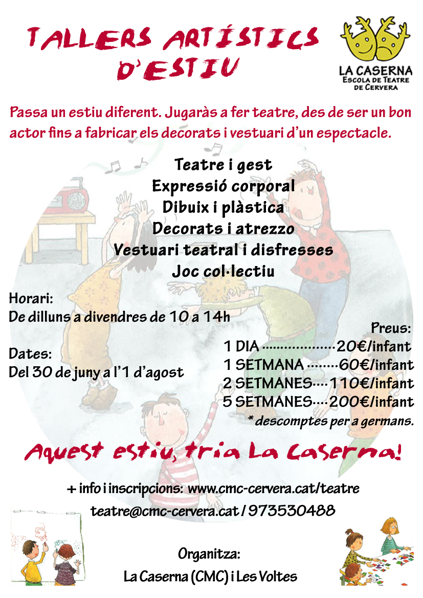 cartell Tallers artístics d'estiu per a infants - La Caserna