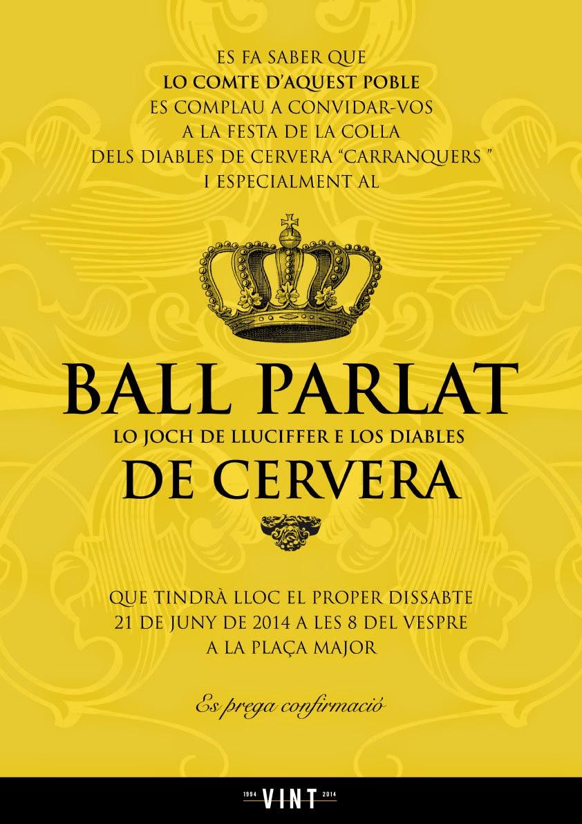 cartell Ball Parlat dels Diables de Cervera Carranquers