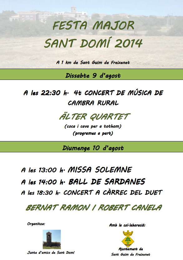 cartell Festa major St Domí 2014