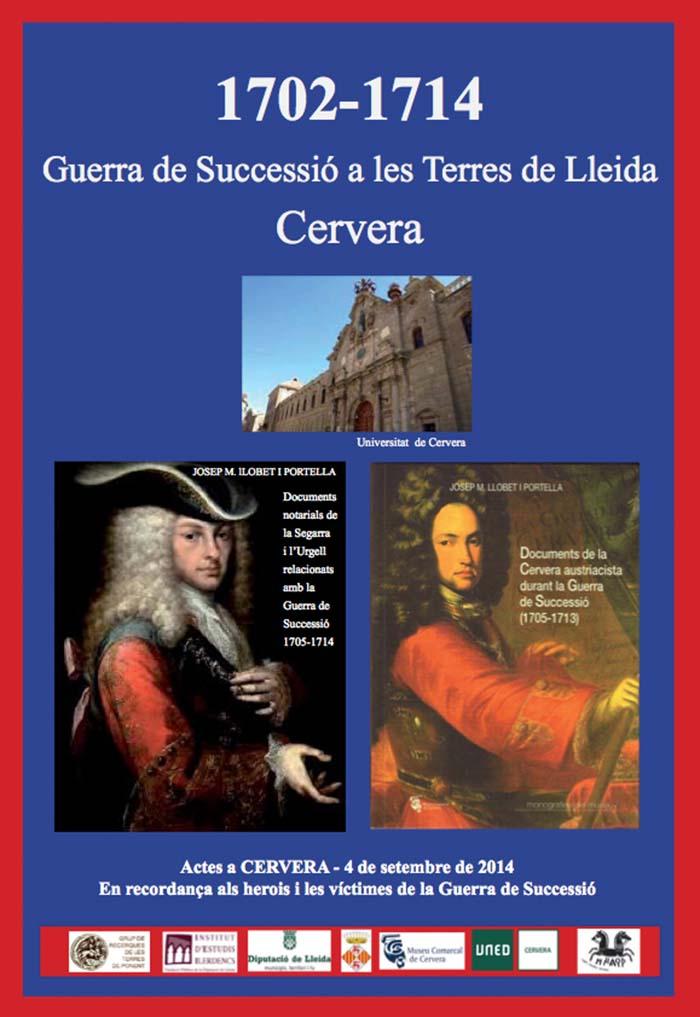 cartell Presentació del llibre 'Documents notarials de la Segarra i l'Urgell relacionats amb la Guerra de Successió 1705-1714,' del Dr. Josep M. Llobet i Portella