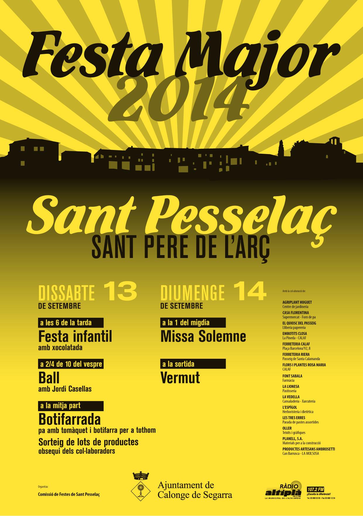 cartell Festa Major de Sant Pere de l'Arç 2014