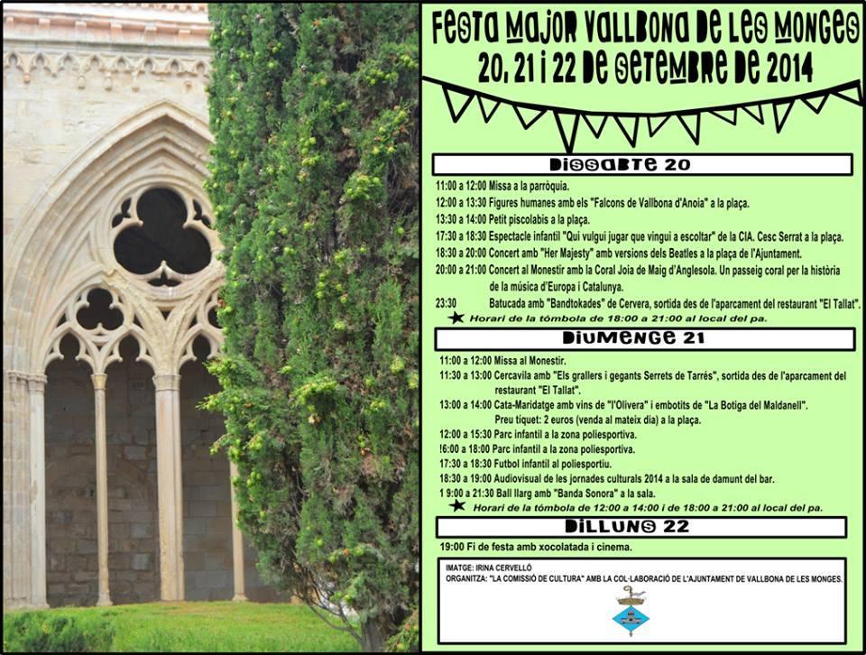 cartell Festa major Vallbona de les Monges 2014