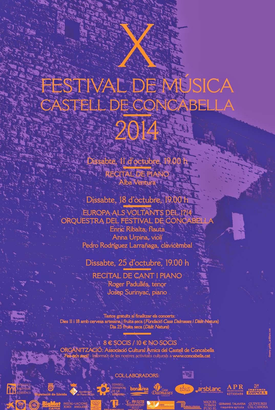 cartell X Festival de Música Castell de Concabella