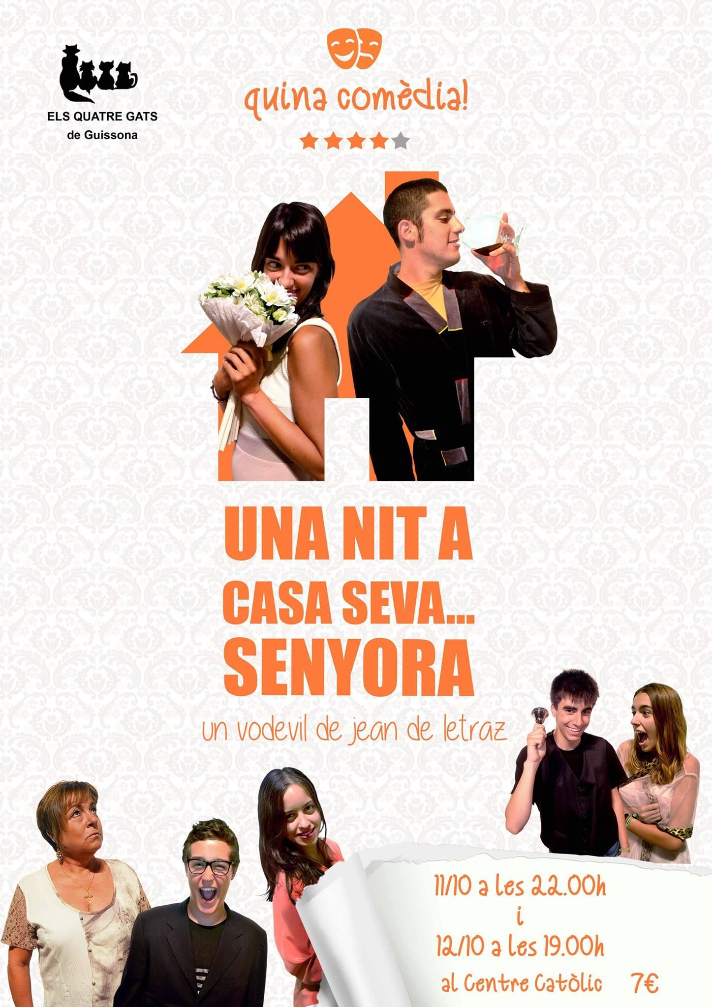 cartell vodevil 'Una nit a casa seva...senyora'