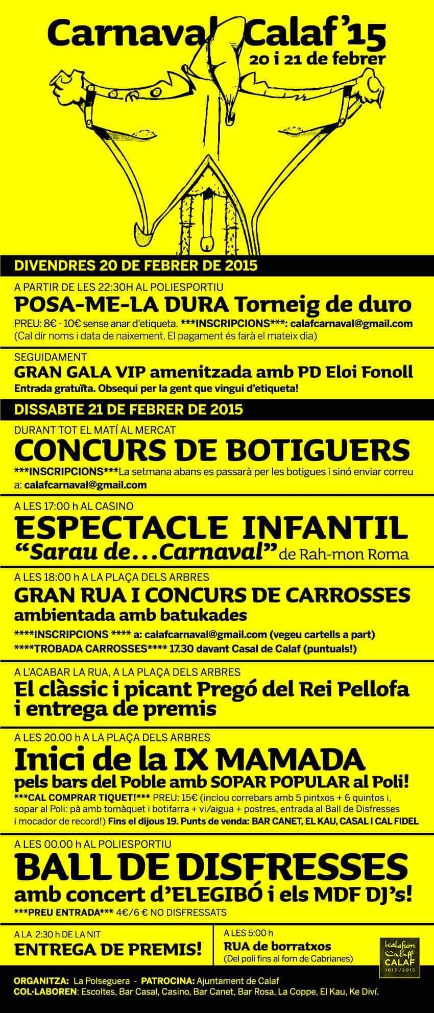 cartell Carnaval Calaf 2015